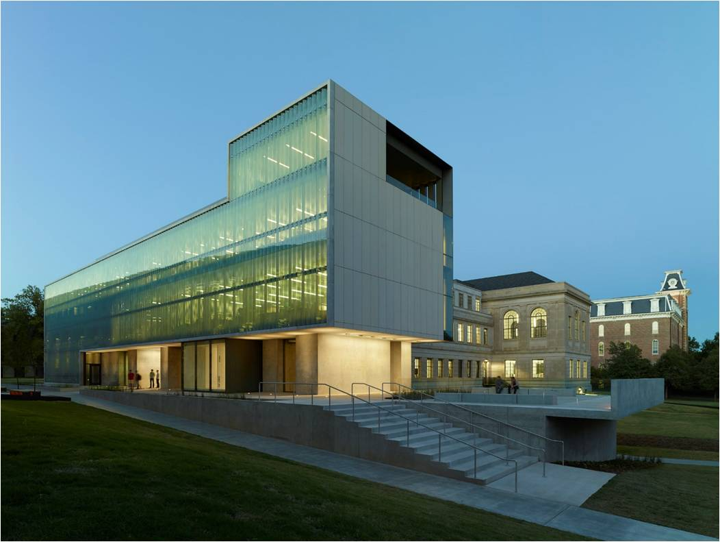 Vol Walker Hall and the Steven L. Anderson Design Center | Marlon Blackwell Architects and Polk Stanley Wilcox Architects | Fayetteville, AR (Photographer: Timothy Hursley)